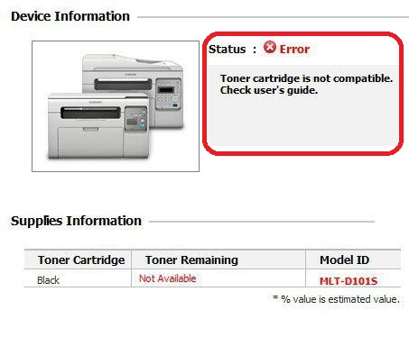 Toner cartridge is not compatible